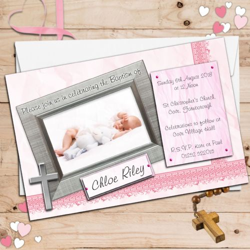 10 Personalised Girls Christening Baptism Invitations PHOTO Invites N85